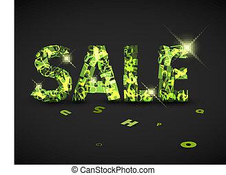 fatto, lettere, vendita, etichetta, vettore, verde