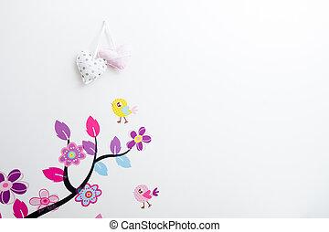 fatto mano, manifesti, appiccicato, albero, con, uccelli, su, parete, in, bambini, room.