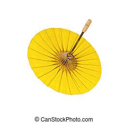 fatto mano, ombrello bianco, fondo, giallo