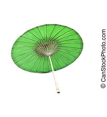 fatto mano, ombrello, verde