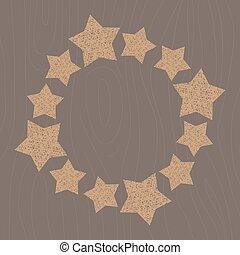 fatto mano, vimine, stella, contorno, wireframe, stella, decorazione