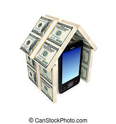 fatto, mobile, moderno, soldi., tetto, telefono, sotto