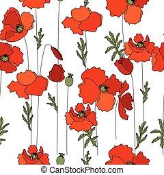 fatto, modello, seamless, struttura, herbs., papaveri, floreale, rosso, infinito