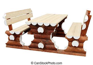 fatto, naturale, panche, logs., due, tavola