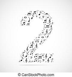 fatto, note, numero due, vettore, musica