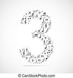 fatto, note, numero tre, vettore, musica