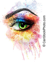 fatto, occhio, schizzi, colorito