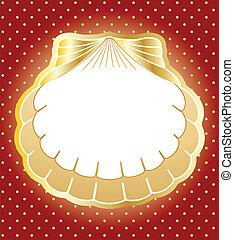 fatto, oro, cornice, perla, vettore, fondo, shells.