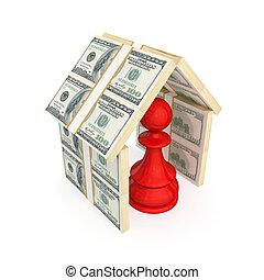 fatto, pegno, soldi., tetto, sotto, rosso