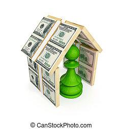 fatto, pegno, soldi., tetto, verde, sotto