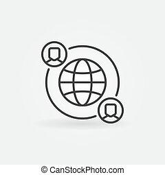 fatto, persone, outsourcing, vettore, terra, linea, icona