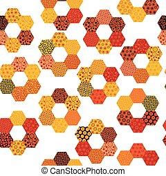 fatto, pezze, patchwork, modello, esagonale, fiori