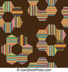fatto, pezze, patchwork, modello, motivi, etnico, esagonale, fiori