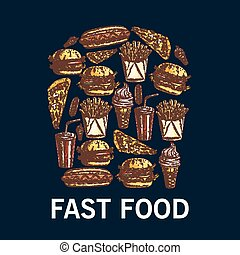 fatto, piatti, cibo, simbolo, frigge, su, francese, digiuno