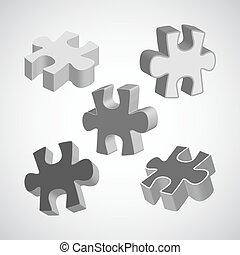 fatto, puzzle, grigio, illustrazione, pezzi, quattro, vettore