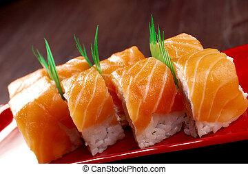 fatto, salmone, rotolo