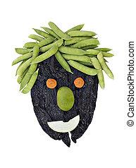 fatto, sano, faccia, verdura