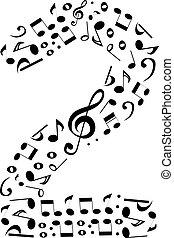 fatto, set, astratto, -, numero due, vettore, musica, numeri, note