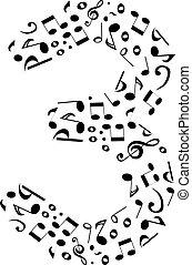 fatto, set, astratto, -, numero tre, vettore, musica, numeri, note