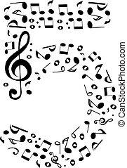 fatto, set, astratto, -, numero, vettore, cinque, numeri, note musica