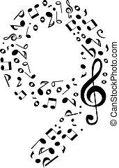 fatto, set, astratto, -, numero, vettore, nove, numeri, note musica