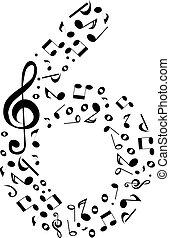 fatto, set, astratto, sei, -, numero, vettore, musica, numeri, note