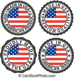 fatto, set, bandiera usa, illustrazione, etichetta, vettore
