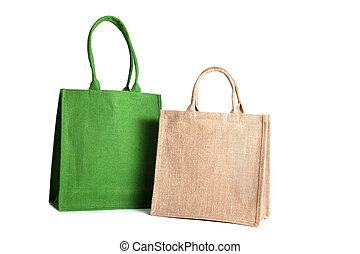 fatto, shopping, riciclato, sacco, borsa, hessian, fuori