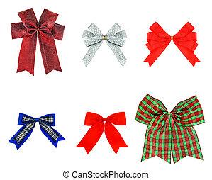 fatto, silv, festivo, isolato, arco, set, verde, nastro, bianco, rosso