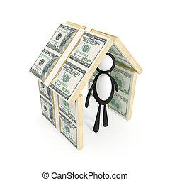 fatto, soldi., tetto, sotto, piccolo uomo