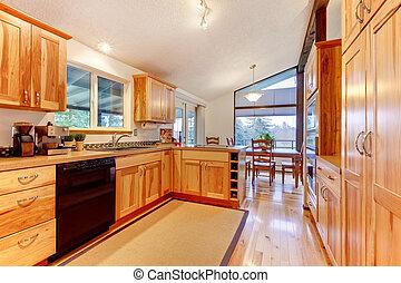 fatto, solido, floor., costume, legno duro, legno, betulla, gabinetto, cucina