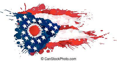 fatto, stati uniti, colorito, bandiera, schizzi, ohio