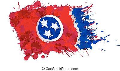 fatto, stati uniti, colorito, tennessee, bandiera, schizzi