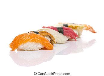 fatto, sushi, isolato, fondo, piatto, pietanza, uggia, bianco, nigiri