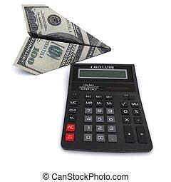 fatto, $, ufficio, calcolatore, bill., interpretazione, carta, sfondo nero, 100, bianco, aeroplano, 3d