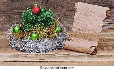 fatto, vecchio, orpello, albero, carta natale, rotolo