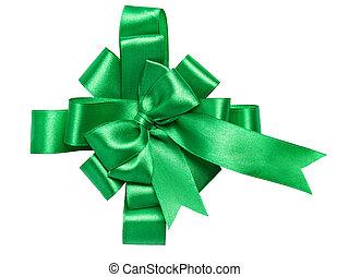 fatto, verde, nastro, arco, festivo