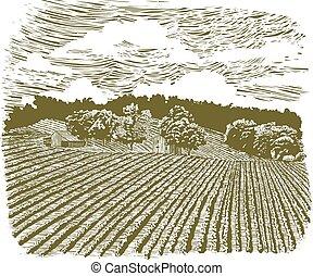 fattoria, 60, woodcut, autostrada