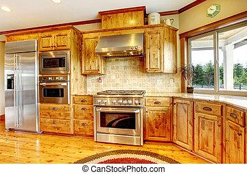 fattoria, americano, legno, lusso, interior., casa, nuovo, home., cucina