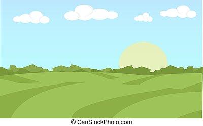 fattoria, appartamento, paesaggio., cibo organico, concetto, per, qualsiasi, design., fattoria, paesaggio, concept., fattoria, paesaggio, illustration., fattoria, paesaggio, fondo., fattoria, fondo., terreno coltivato, concept., terreno coltivato, illustrazione