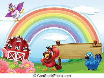 fattoria, arcobaleno, cartello, uccelli, vuoto