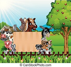 fattoria, asse, animali, segno bianco
