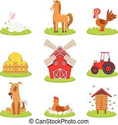 fattoria, associato, oggetti, animali, collezione
