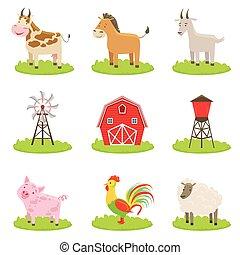 fattoria, associato, set, animali, oggetti