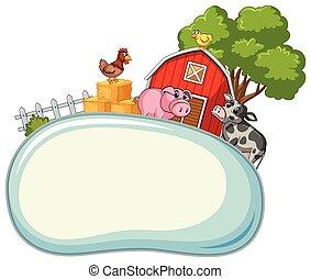 fattoria, bordo, animali, sagoma, fondo