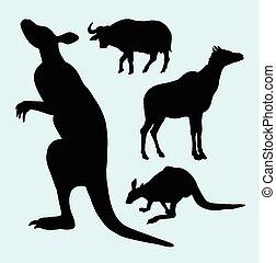 fattoria, bufalo, canguro, silhouette, animale