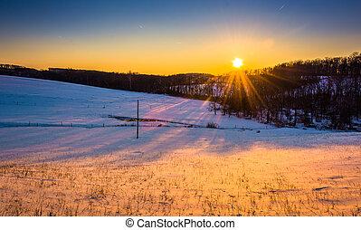 fattoria, campi, sopra,  Pennsylvania, tramonto,  York, contea, rurale
