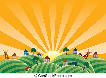 fattoria, campi, vettore, paesaggio, agricolo