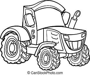 fattoria, cartone animato, trattore