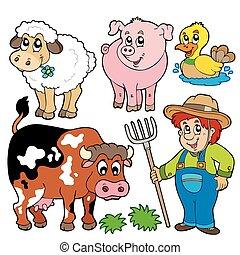 fattoria, cartoni animati, collezione